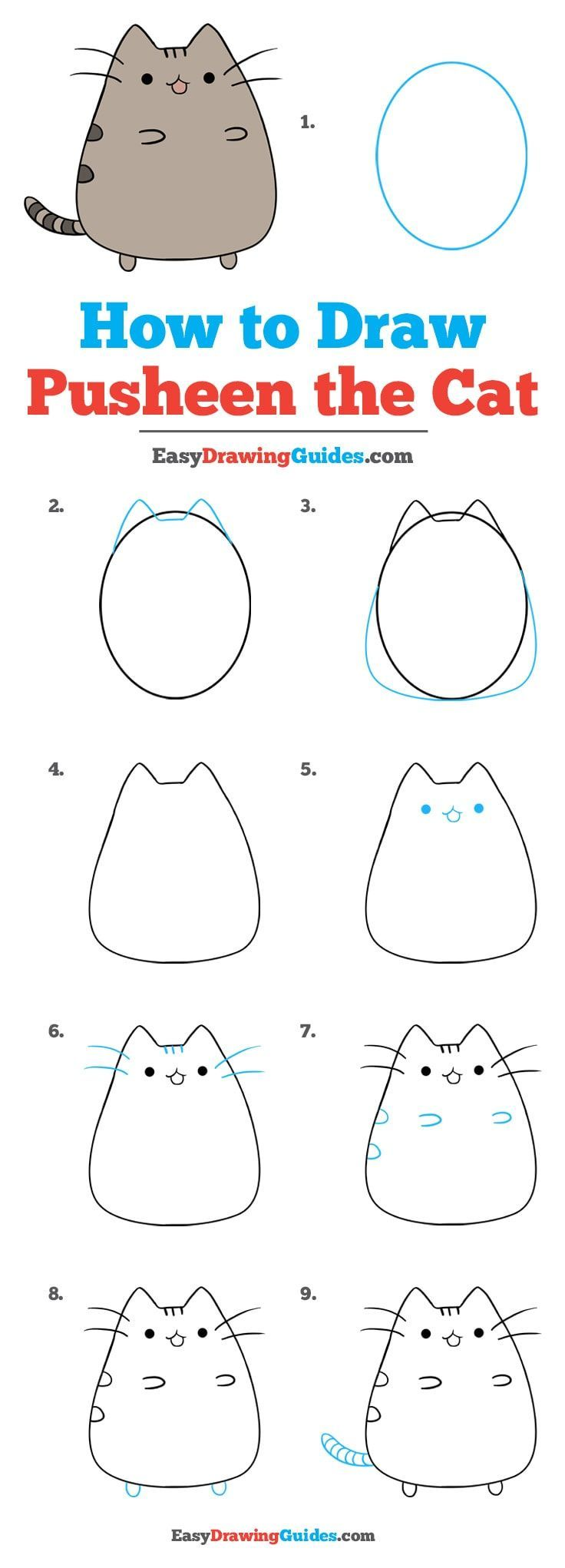 how to draw pusheen the cat really easy drawing tutorial kids