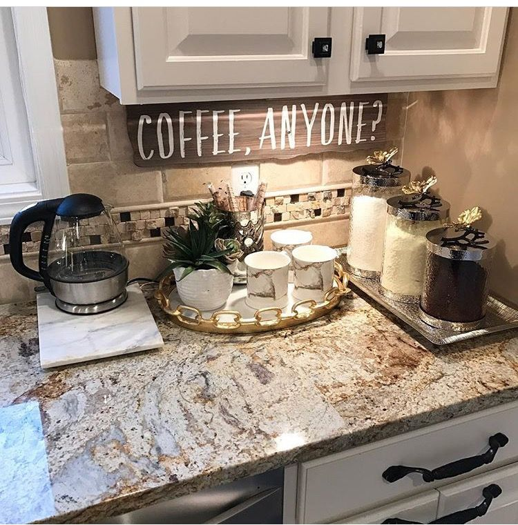 If you NEED your morning dose of coffee like me, this coffee bar/corner is perfect to have in the kitchen