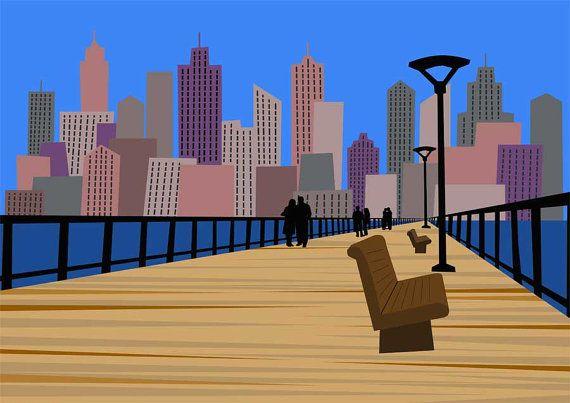 Large Print  Skyline promenade Art Print  by Theredumbrellashop