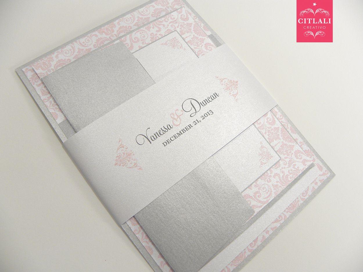 Pink Blush Gray Damask Layered Wedding Invitations Citlali