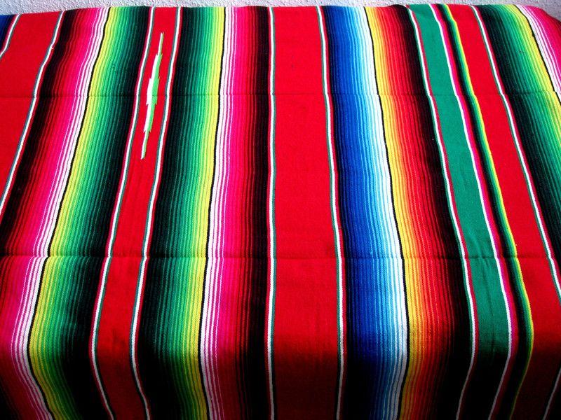 Grosse Mexikanische Indio Sarape Decke Rot Bunt Diese Schone