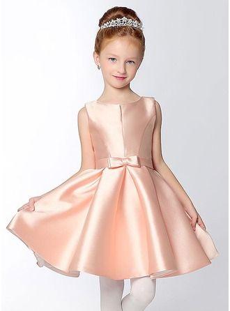 81439c2dca Corte A Princesa Corto Mini Vestidos de Niña Florista - Satén Sin mangas  Escote en V con Lazo(s)