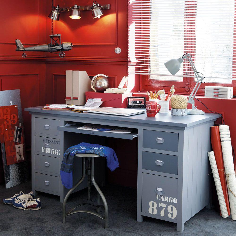 Bureau en bois gris l 150 cm cargo maisons du monde le - Maison du monde bureau fille ...