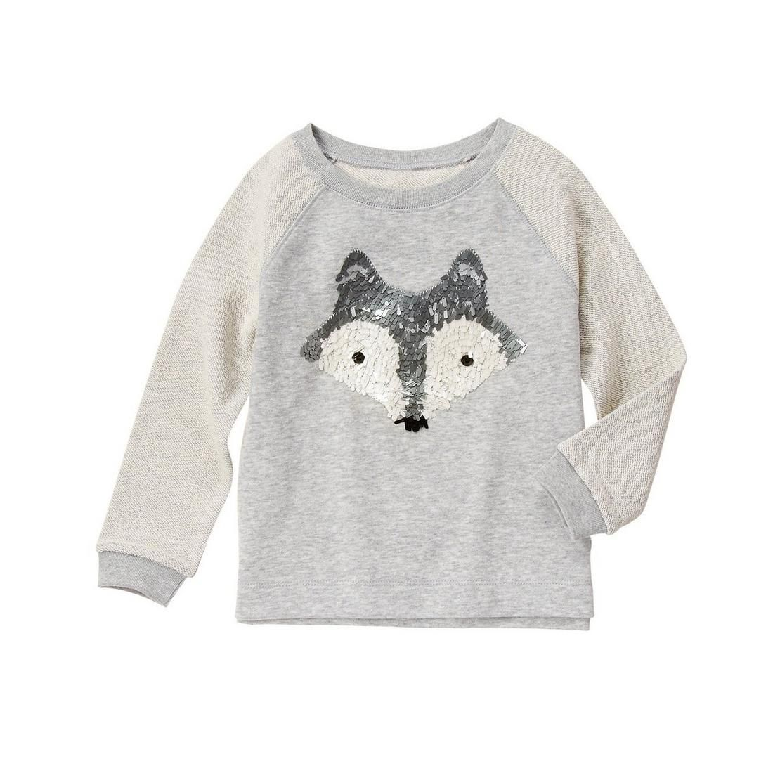 a5bb3cb62da9 Girls Heather Grey Sequin Fox Pullover by Gymboree