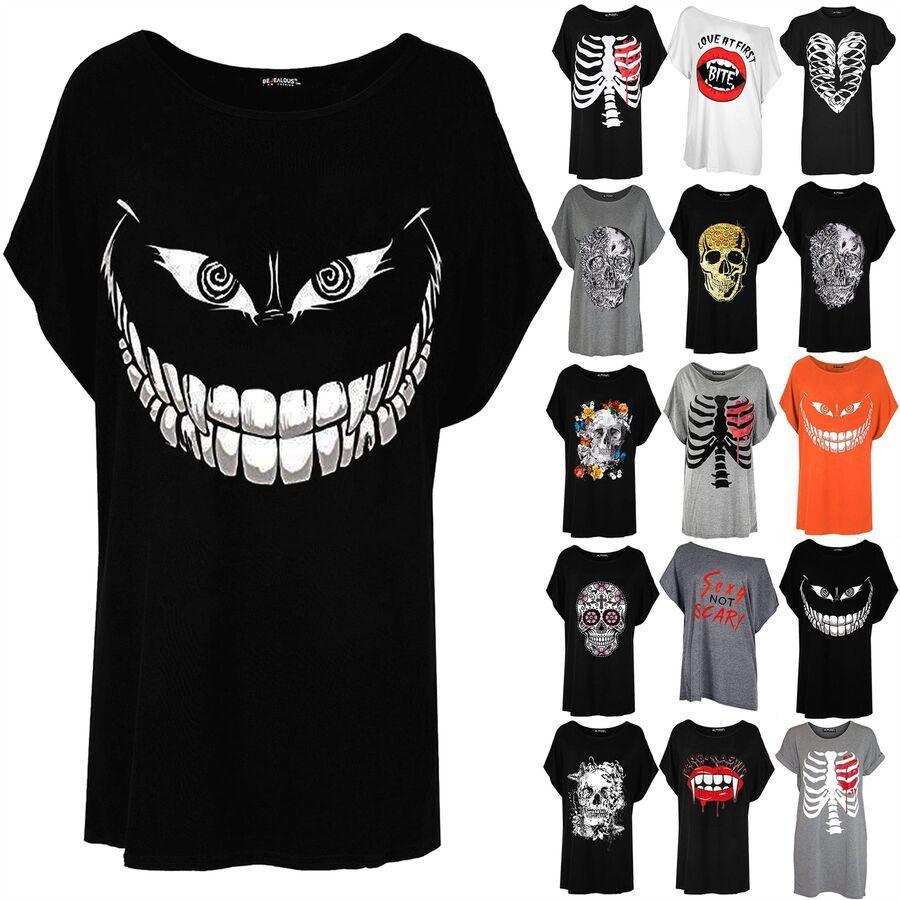 Ladies Womens Halloween Skull Face Batwing Scary Lagenlook Baggy T-Shirt Tee Top