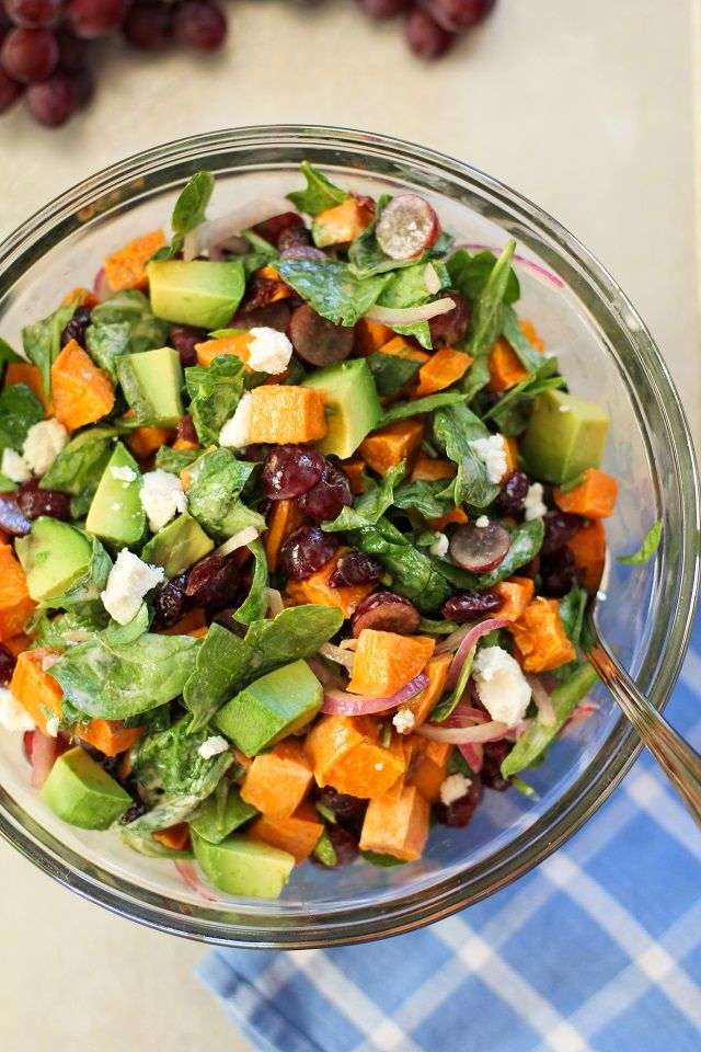 Roasted Sweet Potato Salad With Spinach And Grapes