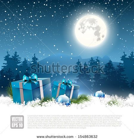 christmas night background with gift boxes and baubles in the snow vector background