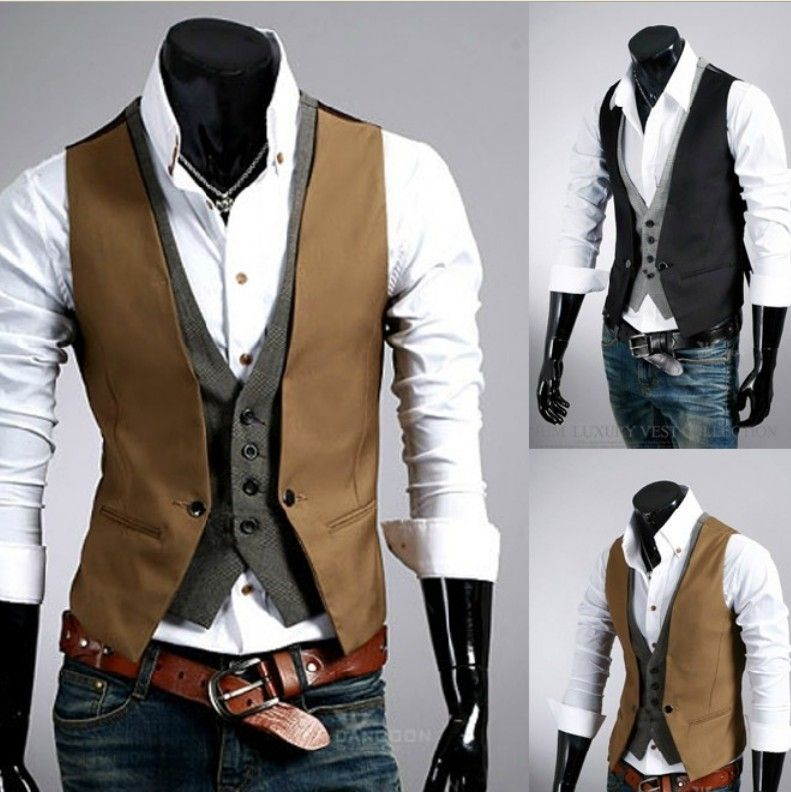 Stylish Casual Waistcoat Vest Jacket Double Fly Closure For