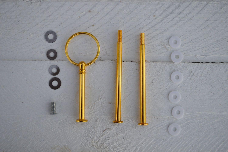 3 Tiered Cake Stand Hardware - Round - Gold - Craft Supplier by ...