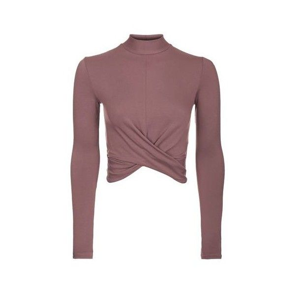 Topshop Long Sleeve Twist Front Crop Top ($15) ❤ liked on Polyvore  featuring tops