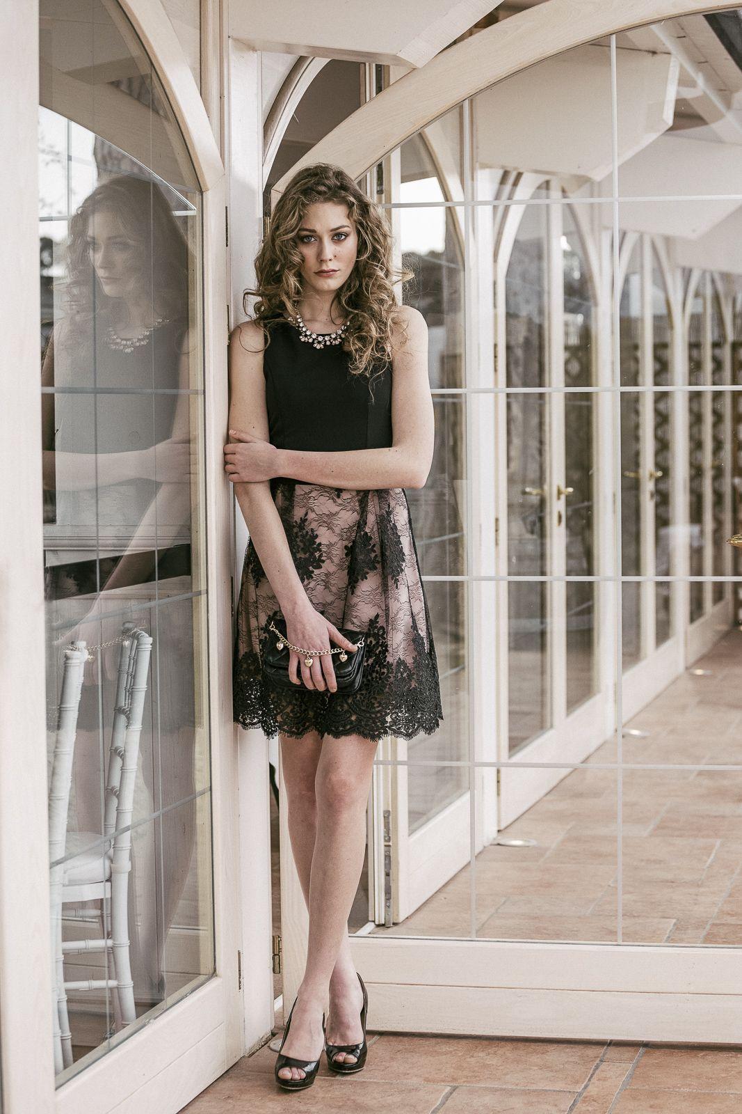 Abiti Eleganti Nuna Lie.Black And Pink Lace Dress Fashion Spring 2016 Nuna Lie