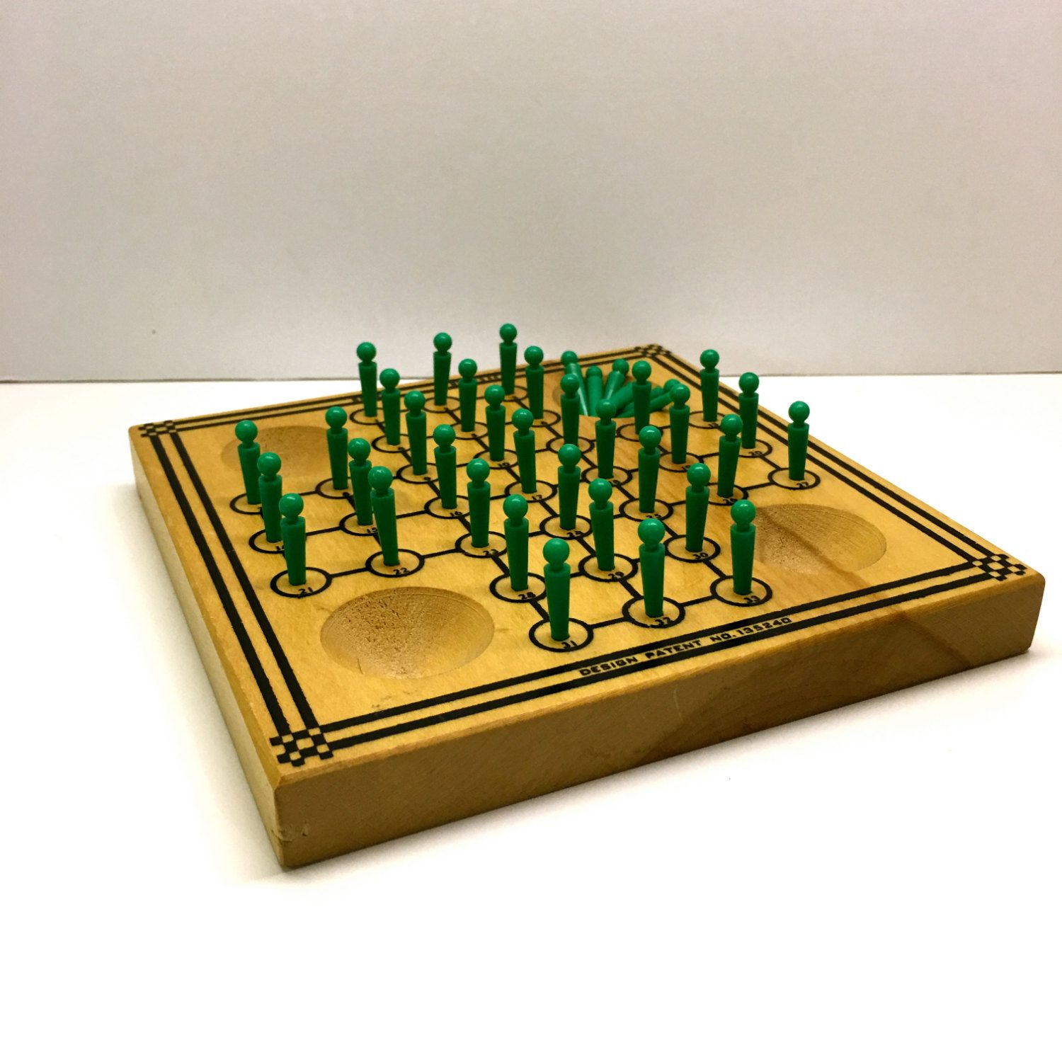 Drueke Solitaire Game With Pegs Patent no 135240 by