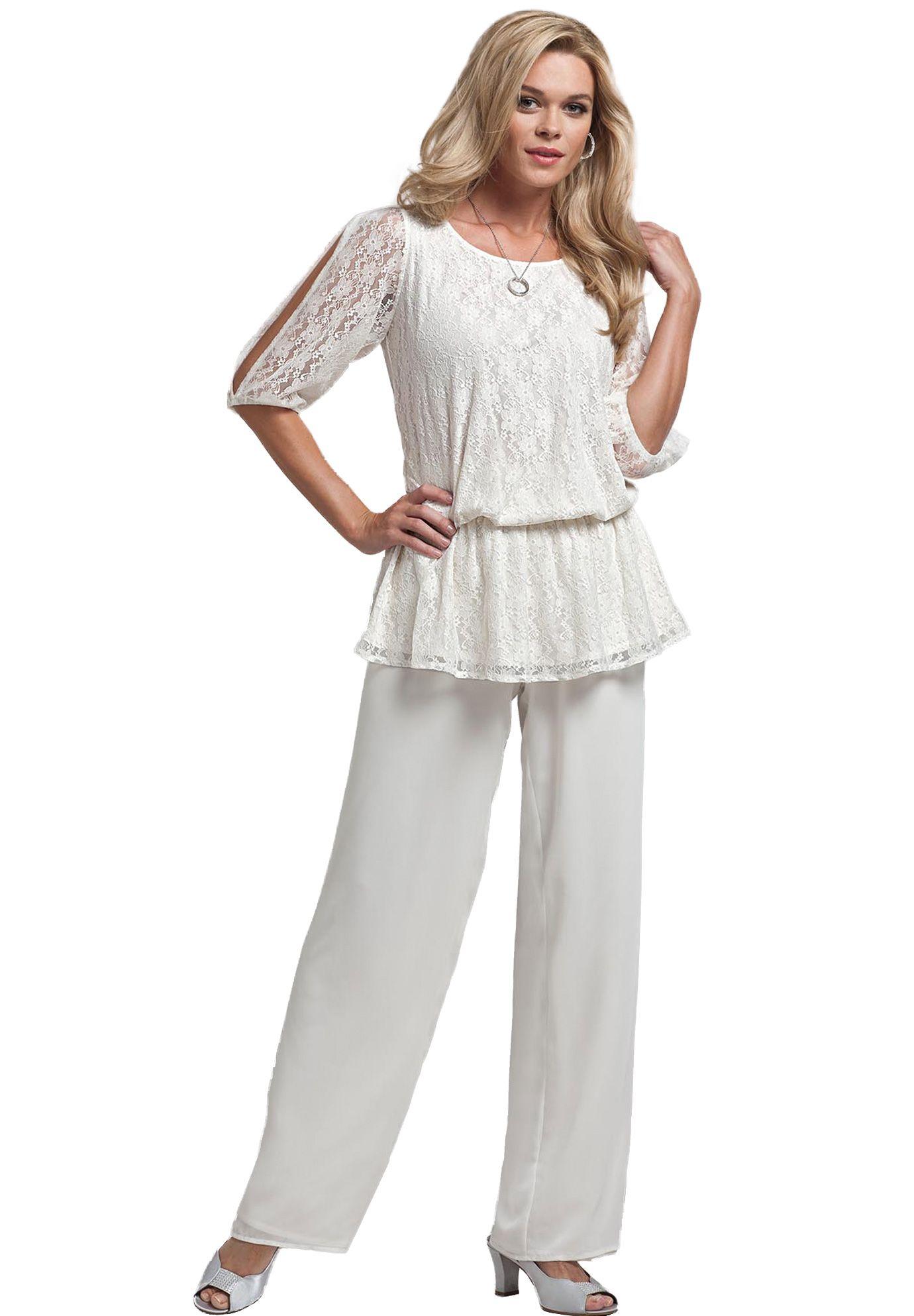 Lace Blouson Pantset Plus Size Formal Occasion Roamans Fashion
