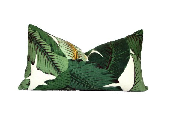 Banana Palm lumbar pillow cover - Palm Beach, Hollywood Regency, Tropical, Hawaiian