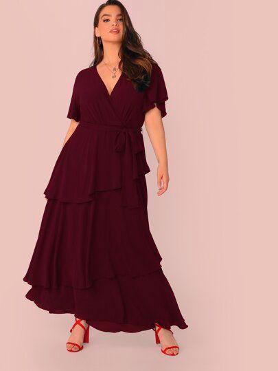 Photo of Plus Surplice Neck Layered Ruffle Belted Maxi Dress  Plus Surplice Neck Layered …