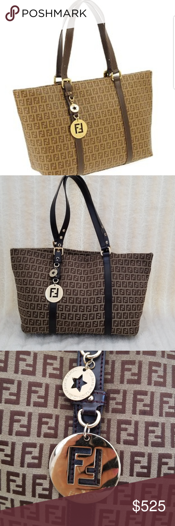 1cc624332d2 Authentic Fendi Zucca Charm FF logo Canvas   brown This chic and practical  Fendi Brown FF