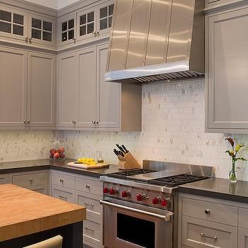 Oval Marble Backsplash Transitional Kitchen Artistic Designs