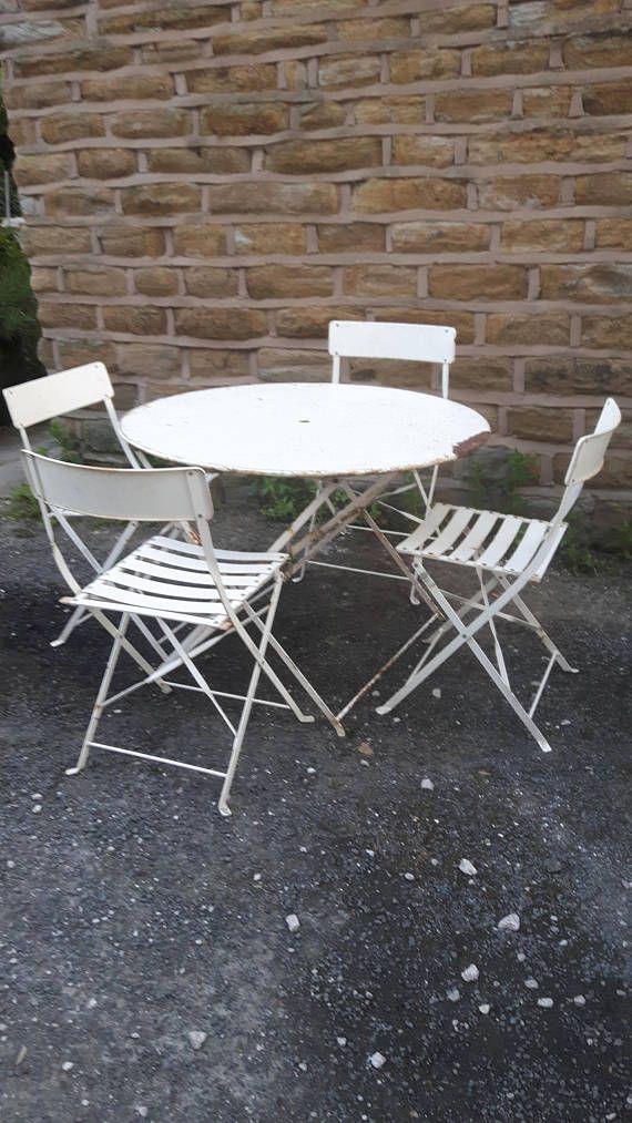 genuine vintage antique french folding metal garden set table