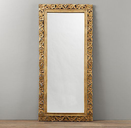 Vintage Hand Carved Full Length Mirror