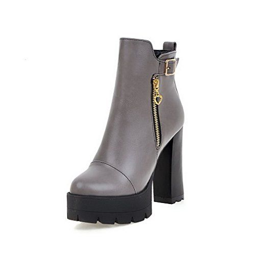 Women's High-Heels Pointed Closed Toe Imitated Suede Low-Top Solid Zipper Boots Black-Buckle 43