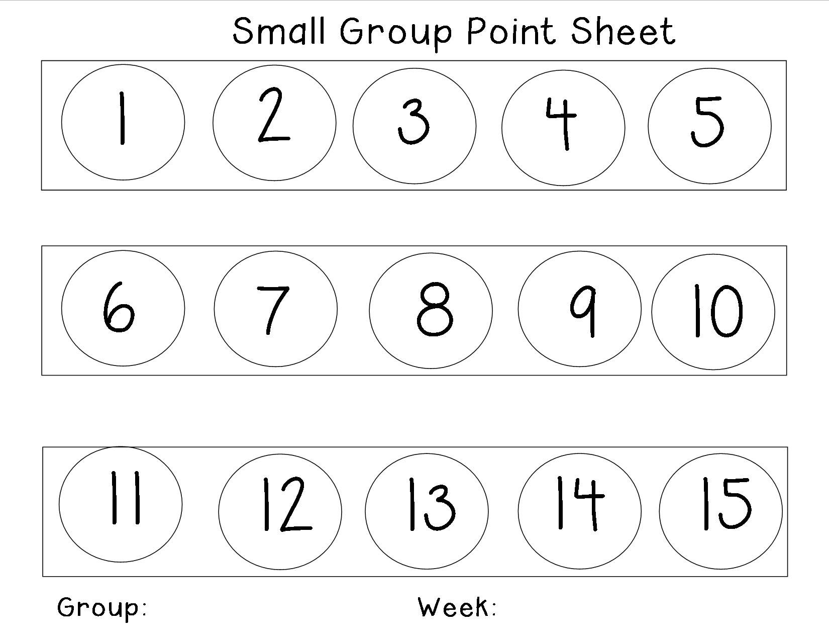 Behavior Management Point Sheet For Small Groups It Can