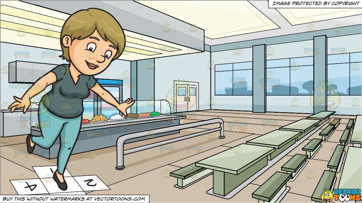 a woman playing hopscotch and high school cafeteria background clipart cartoon a woman playing hopscotch and