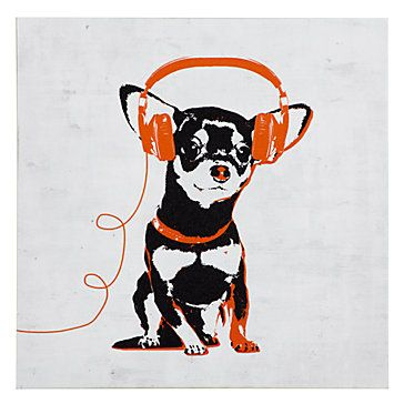 I'm not a dog person, but this series of prints (4 different dogs w 4 different color headphones) makes me smile.  Music Love Chihuahua from Z Gallerie