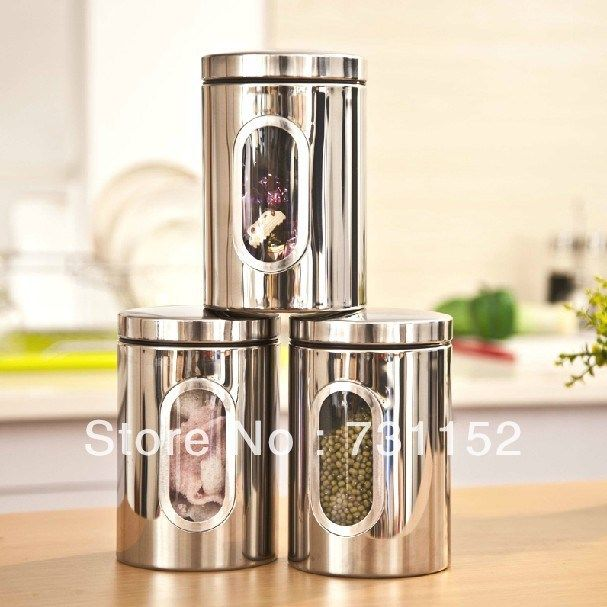 candy nuts stainless steel storage canister jar pcs set storage set