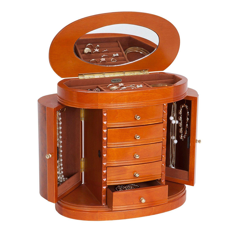 Amazon Mele & Co Trinity Wooden Jewelry Box Walnut Finish