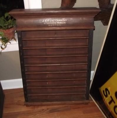 Antique JE CAME CO STANDARD TABLES BOSTON Billliards Pool Cue Ball Rack  Shelf