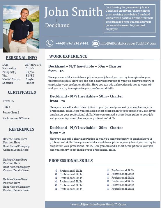 Yacht Resume Get Help Affordable Superyacht CV Pulse