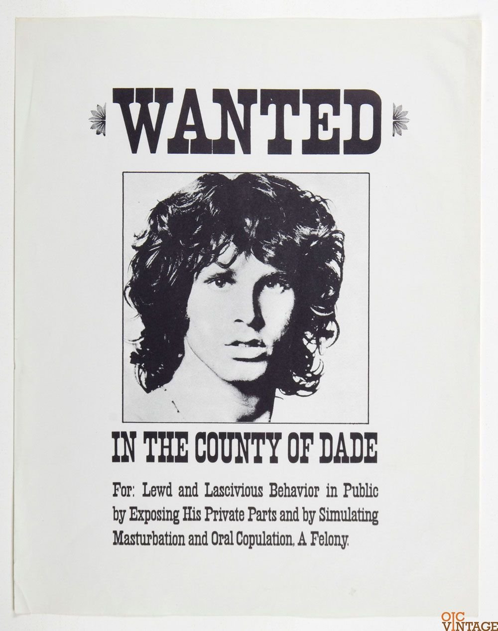 Jim Morrison Poster Wanted In The County Of Dade 1974 17 5 X 22 5 Jim Morrison Poster Jim Morrison Morrison