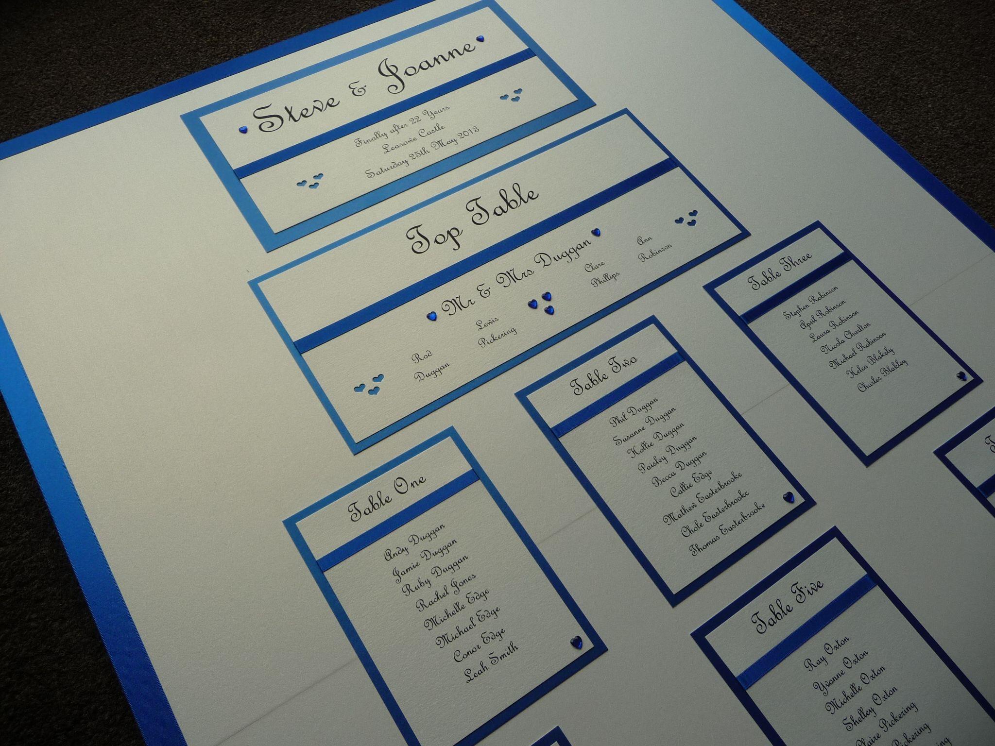 Ivory & Royal Blue Wedding Table Plan Keywords royalblueweddings jevelweddingplanning Follow Us