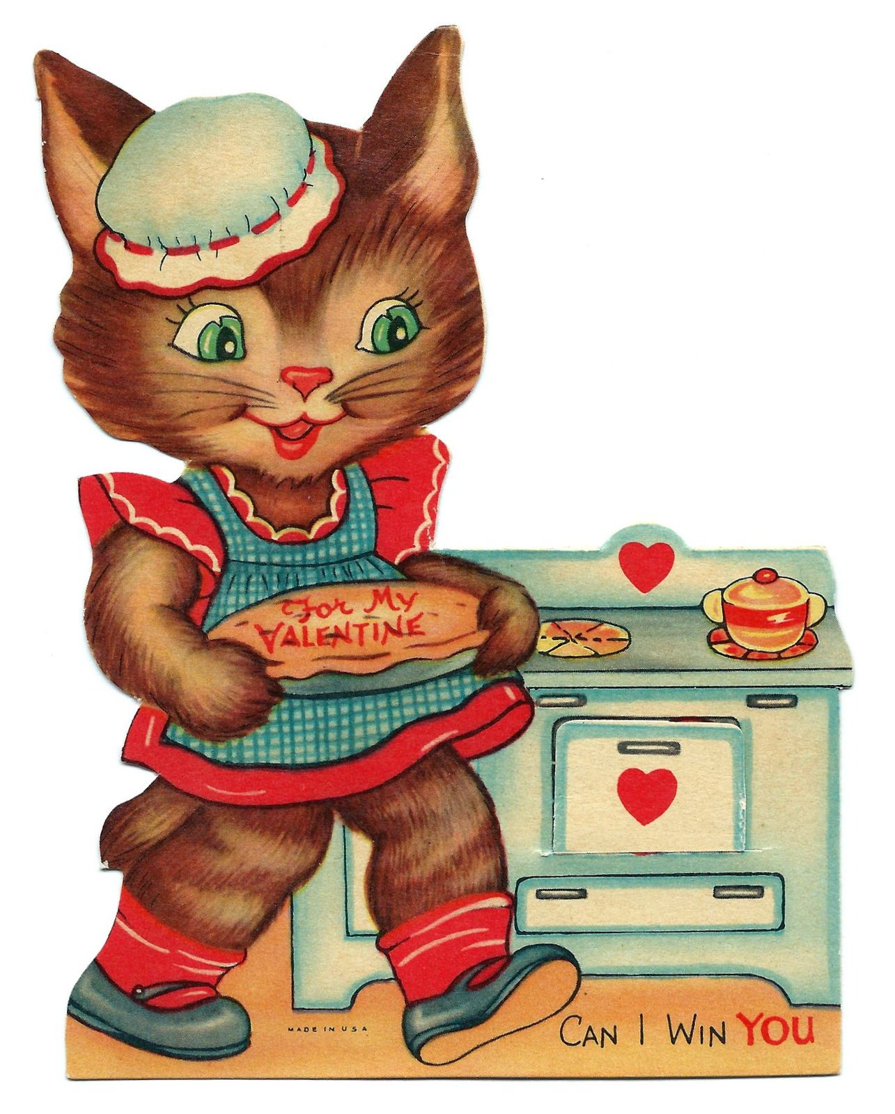 https://flic.kr/p/BYAAW2 | Vintage Valentine Day Greeting Card - Oven Door Opens To Read With A Little Love, Made In USA, Circa 1940