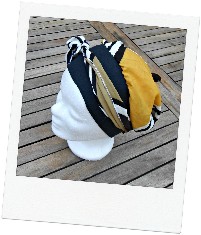Turban à nouer - Foulard - Bonnet - chapeau - bandeau chimio à motifs  géométriques noirs 340e3c90125