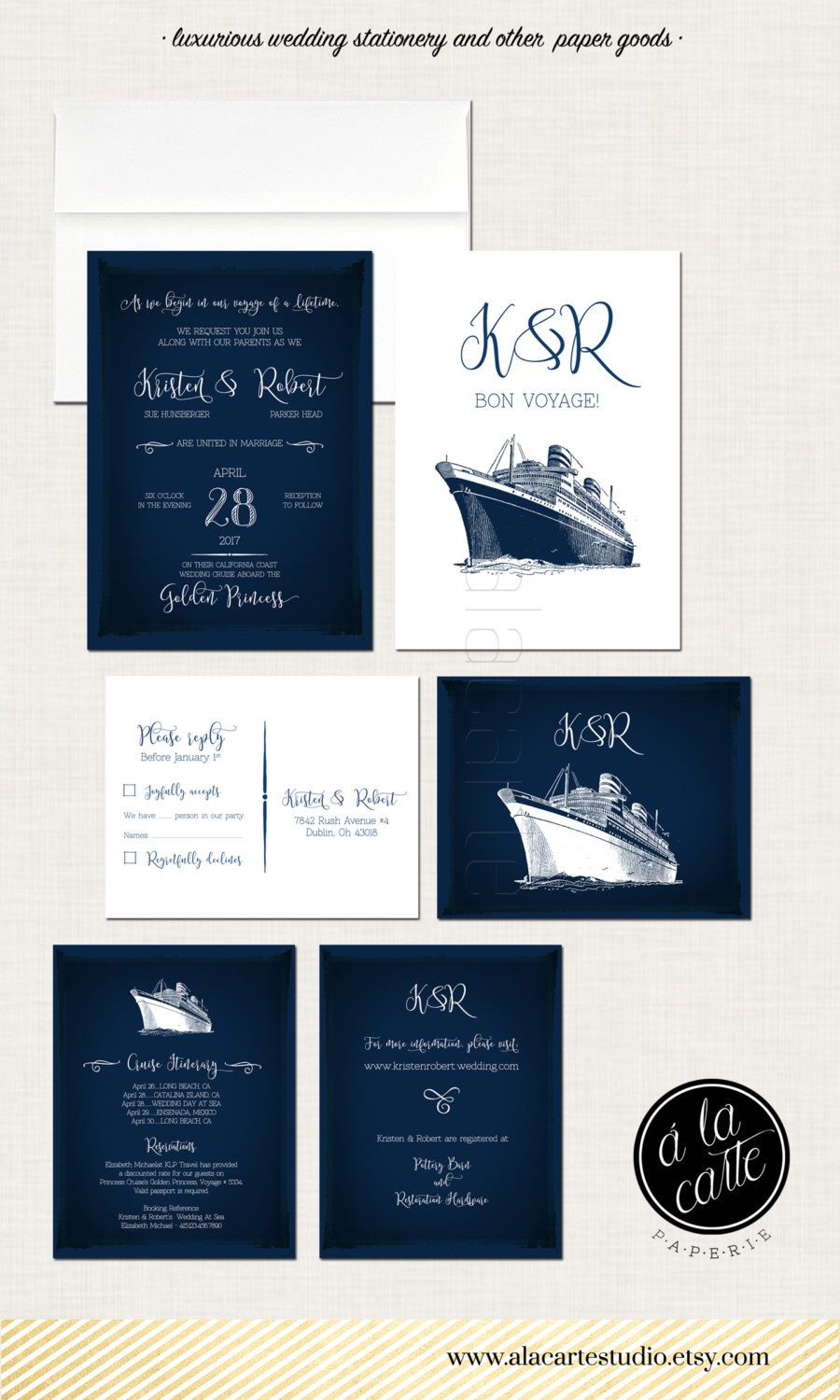 cruise ship wedding invitation rsvp info card destination