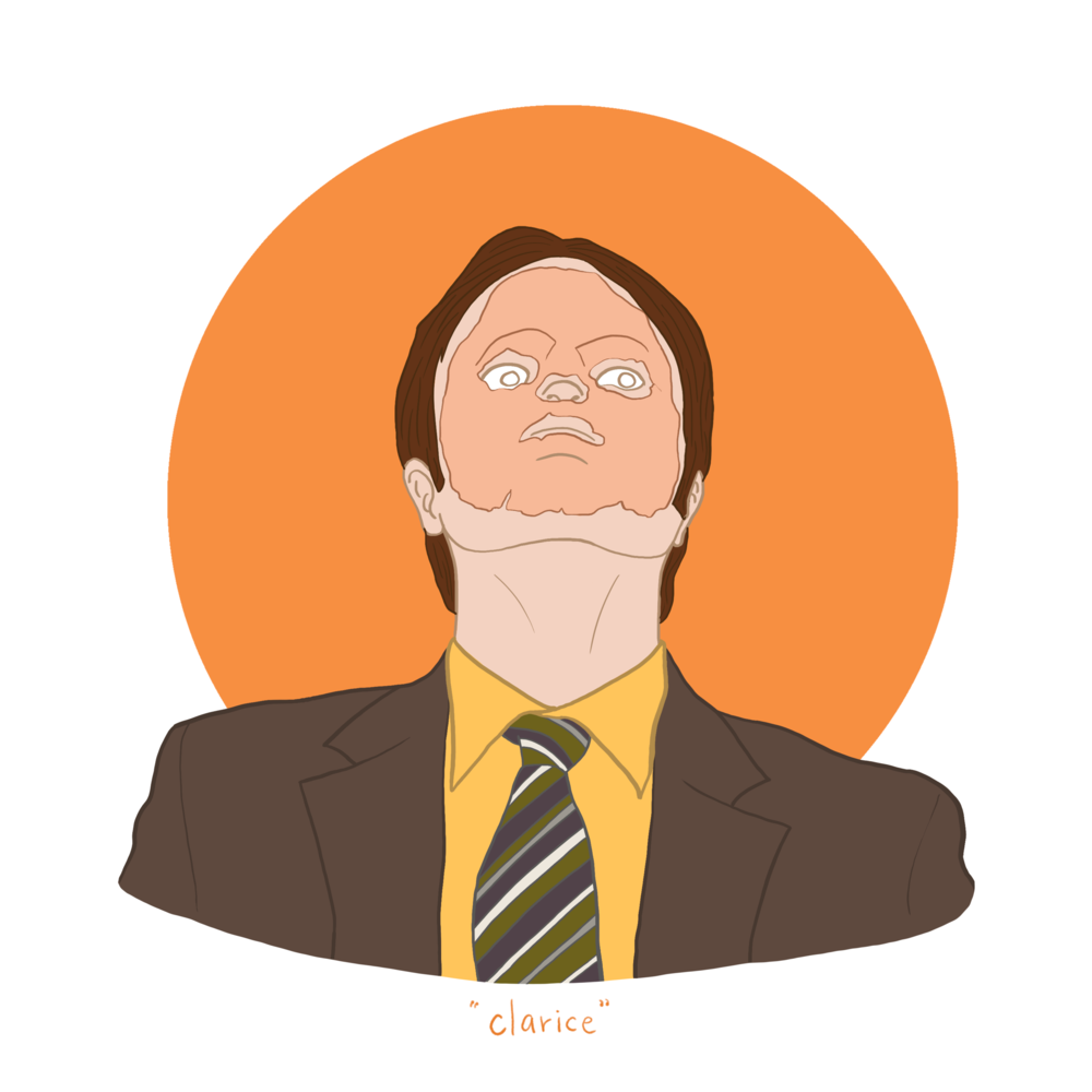Dwight Schrute Clarice The Office Illustration By Pillar Collective Office Wallpaper The Office Stickers Office Cartoon