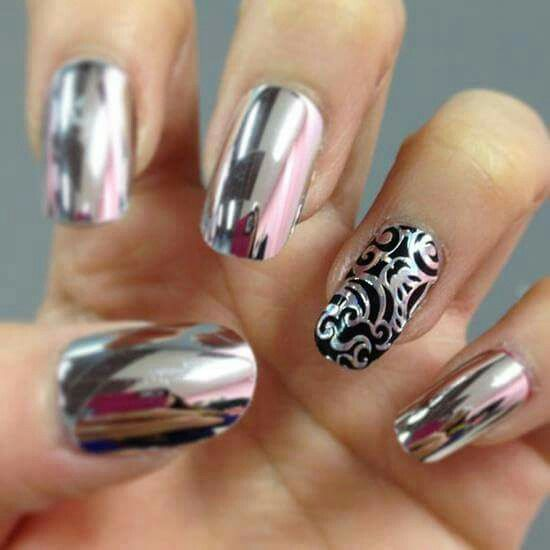 Silver Nails With Design Nail Art Pinterest
