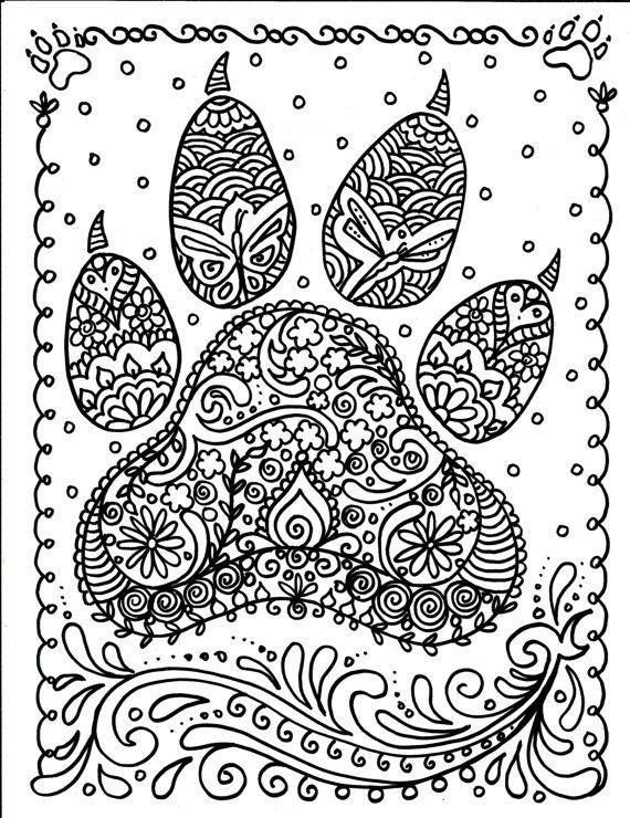 Instant Download Paw Print Coloring Page Crafting Page Scrap