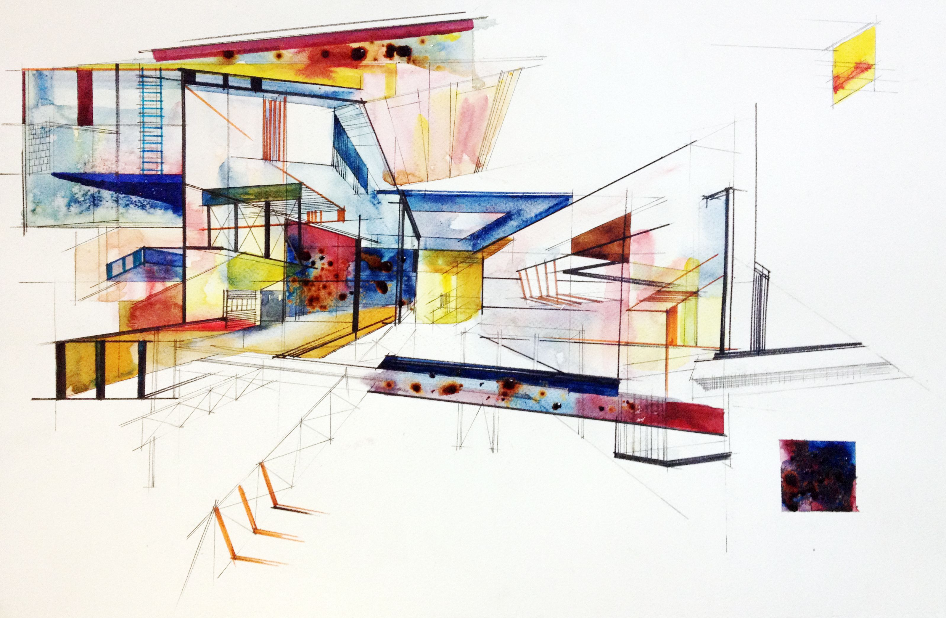 Abstract Colorful Architectural Watercolor Watercolor Paintings