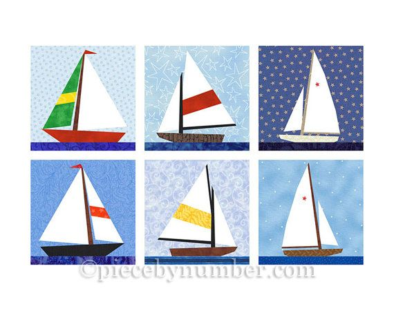 Photo of Sailboat quilt blocks, paper pieced quilt pattern, instant download, boat pattern, nautical decor, baby boy quilt, easy quilt pattern