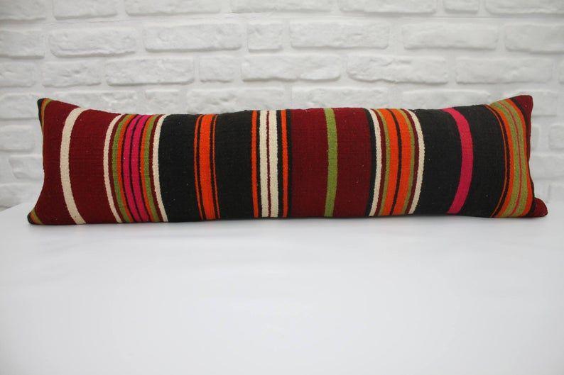 12x42 burgundy pillow striped pillow