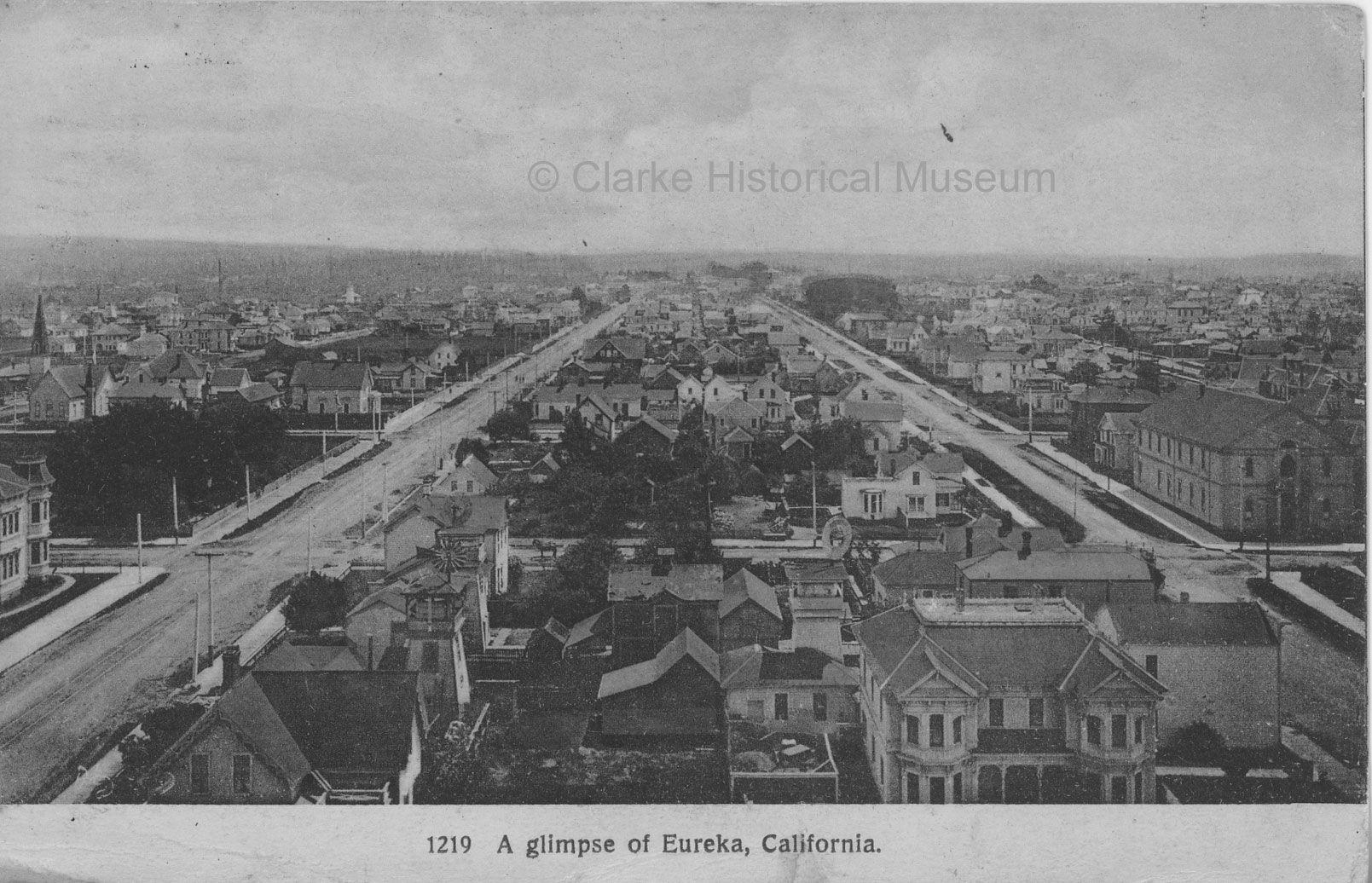 undated postcard A glimpse of Eureka CA © Clarke Historical