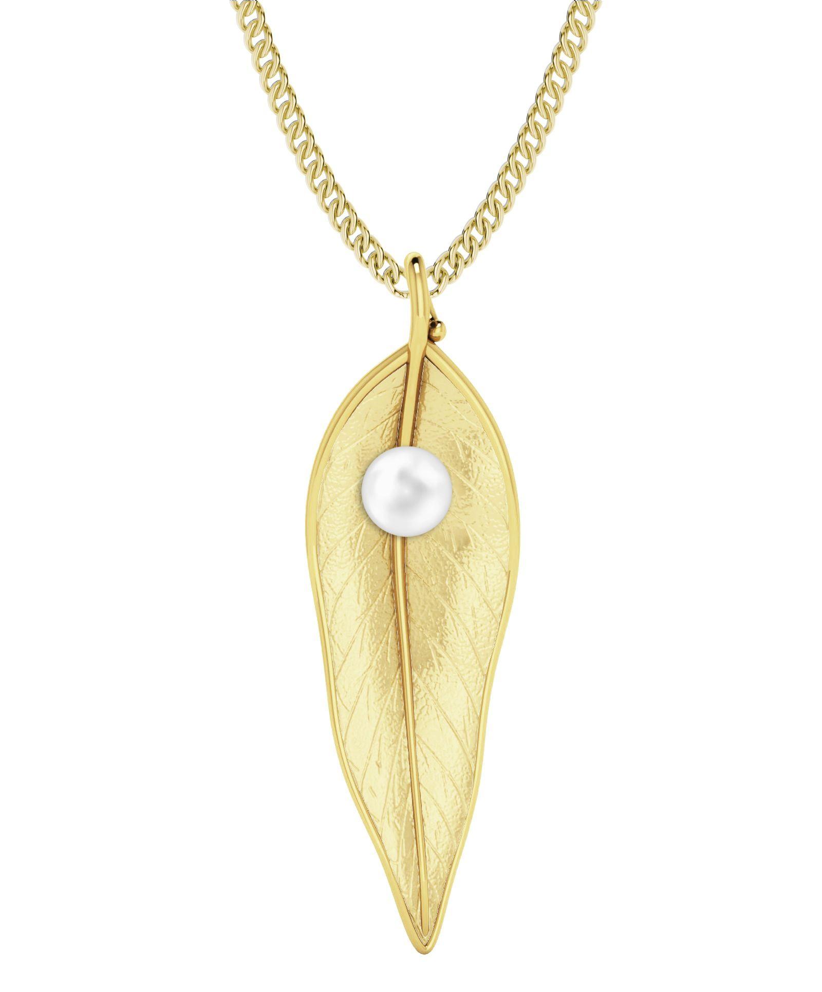 StyleRocks Terre-et-mer Leaf & Pearl Necklace - Rose Gold Plated - 45cm 37zp6LvV