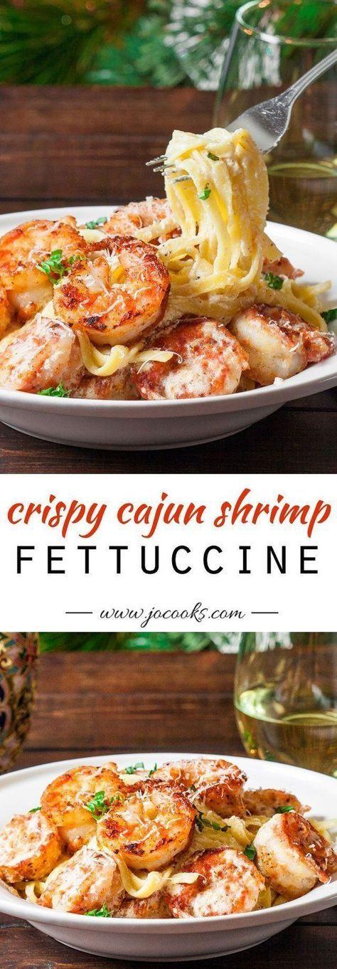 Crispy cajun shrimp fettuccine with a super easy creamy sauce and crispy cajun shrimp that can be on your dinner table in 20 minutes tops! #shrimpfettuccine