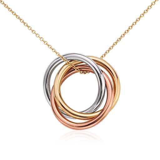Blue Nile Infinity Rings Pendant in 14k Tri-Color Gold UAZQM5ISP