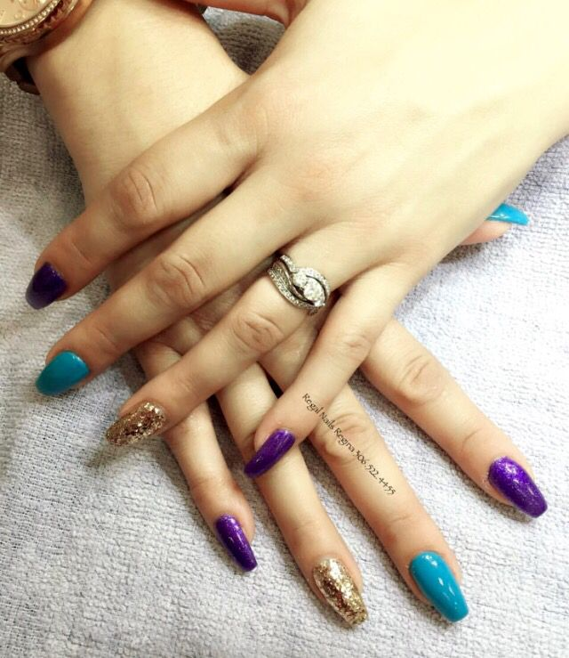 Purple Turquoise And Gold Coffin Nails Glitter
