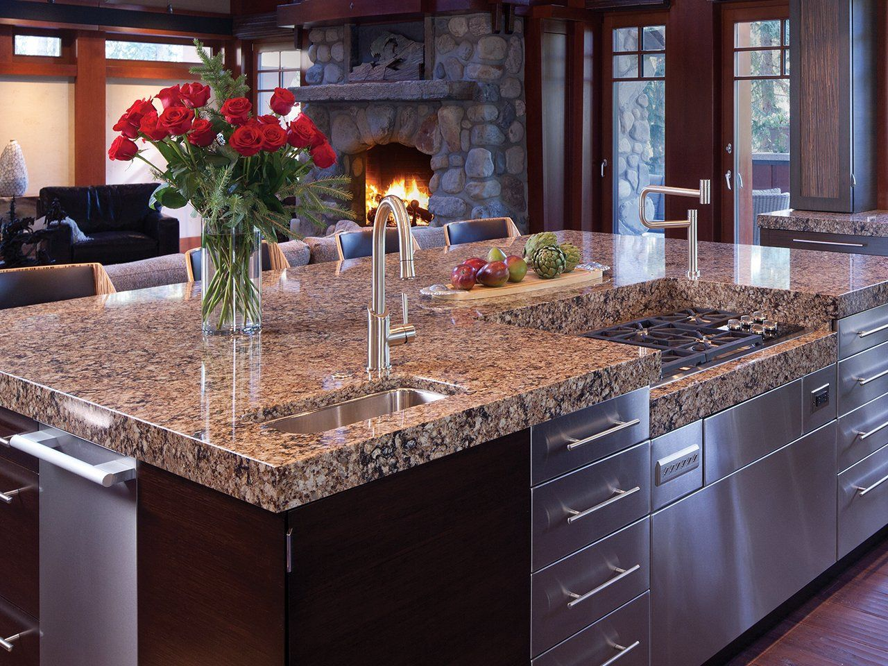 double granite countertops sink style cottage coffee cart maker maine of portland mainstays x att pulls island commercial bowl photo bunn countertop kitchen drawer