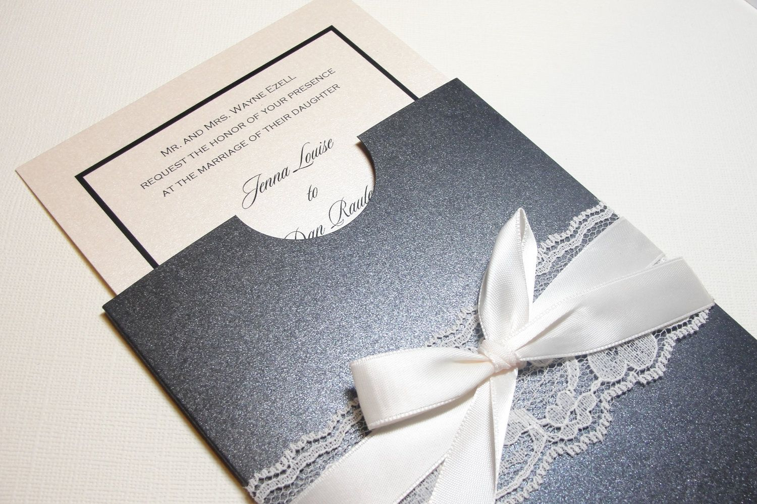 Lace Pocket Sleeve Invitation The Wedding Pinterest Invitation