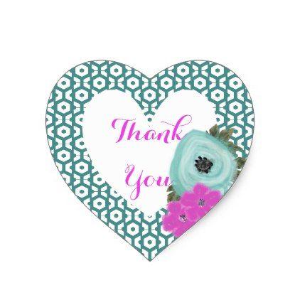 Teal Cerise Pink Elegant Watercolor Floral Heart Sticker - pattern